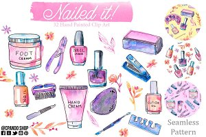 Manicure clip art, seamless pattern