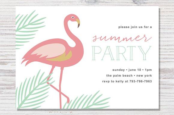 summer party invite invitation templates creative market