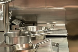 Modern stainless steel hobs in