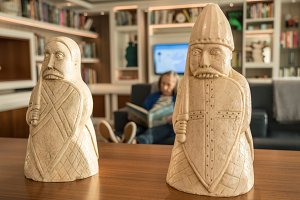 Traditional Lewis Chessmen on table
