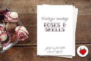 Vintage mockup Rose & shells