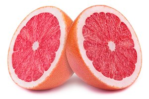 Halves of grapefruits isolated