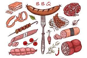 Meat food, sausage and steak