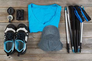 Blue color coordinated walking gear