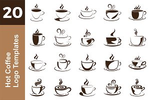 20 Logo Hot Coffee Templates Bundle