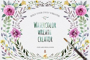 Watercolour elements. Wreath creator