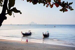 Woman on the tropical beach in Thail