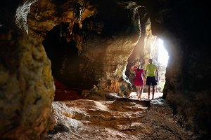 Couple in the tropical cave