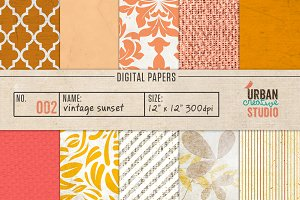 Vintage Sunset Digital Papers