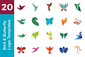 20 Logo Bird & Butterfly Bundle