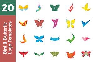 20 Logo Bird & Butterfly Bundle