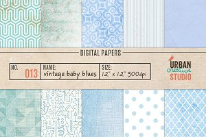 Vintage Baby Blues Digital Papers
