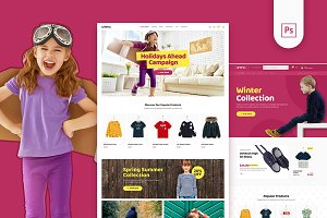 Uneno Kids Fashion eCommerce PSD