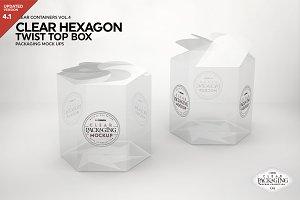 Clear Hexagon Twist Top Box Mockup