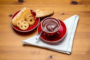 Bowl of cocoa and vanilla wafers (2)