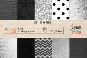 Vintage Nickel Digital Papers