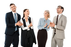 successful cheerful businesspeople c