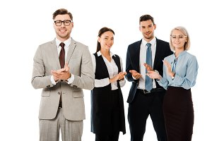 smiling business team applauding to