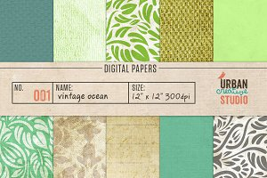 Vintage Ocean Digital Backgrounds