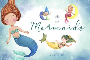 Little Cute Watercolor Mermaids