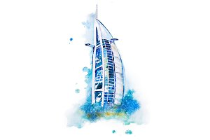 Dubai Burj Al Arab Watercolor