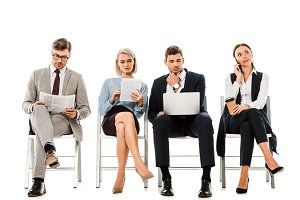 professional businesspeople sitting