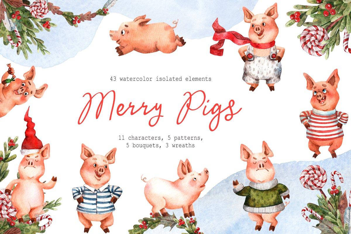 34699e4297a57 Merry Pigs - Watercolor Clip Art Set ~ Illustrations ~ Creative Market