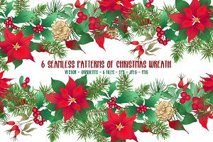 Christmas Wreath Seamless Patterns