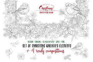 Christmas Wreath Elements Set
