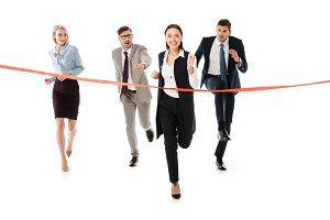 competitive businesspeople running t