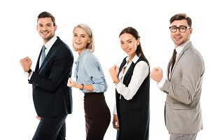 competitive business people running