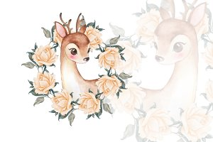 Baby Deer with roses