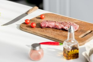 Delicious steak on the cutting board