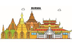 Burma line skyline vector