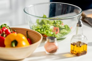 close up view of salad ingredients a