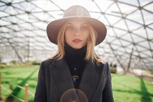 Photo of young blonde in hat on