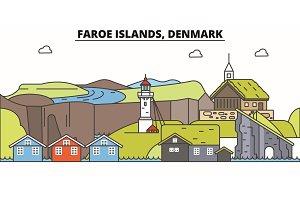 Faroe Islands line skyline vector