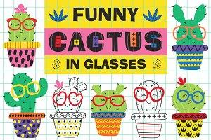 funny cactus in glasses