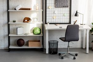 interior of cozy workplace at home o