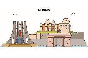 Ghana line skyline vector