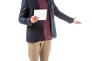 handsome stylish man in jacket holdi