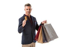 adult handsome man with shopping bag