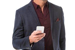 cheerful stylish man in jacket using