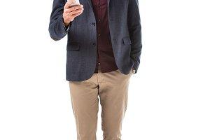 stylish man in jacket using smartpho