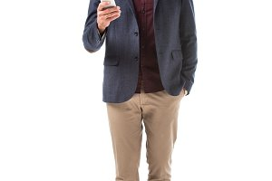 handsome adult stylish man in jacket