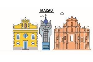 Macau line skyline vector