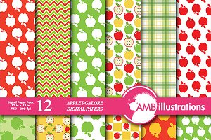 Apples Galore digital papers AMB-136
