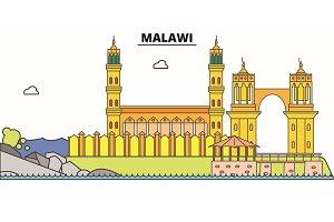 Malawi line skyline vector