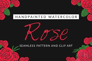 Rose Watercolor Pattern and Clip Art