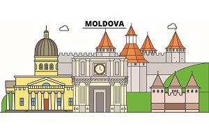 Moldova line skyline vector